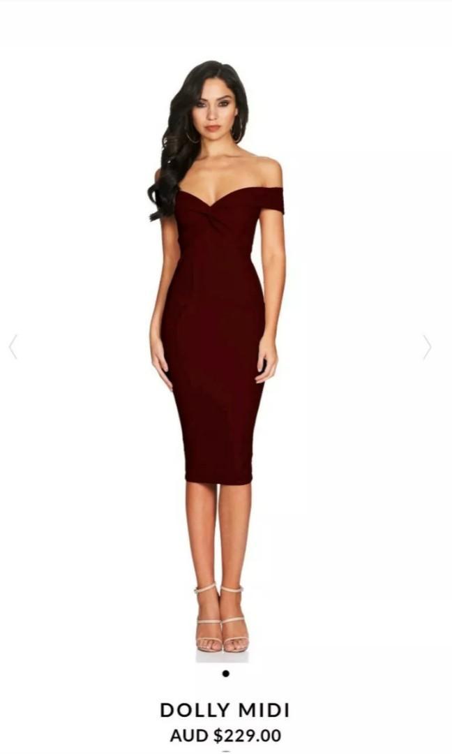 Nookie Dolly midi Dress - Wine Red - Size Large - BNWT