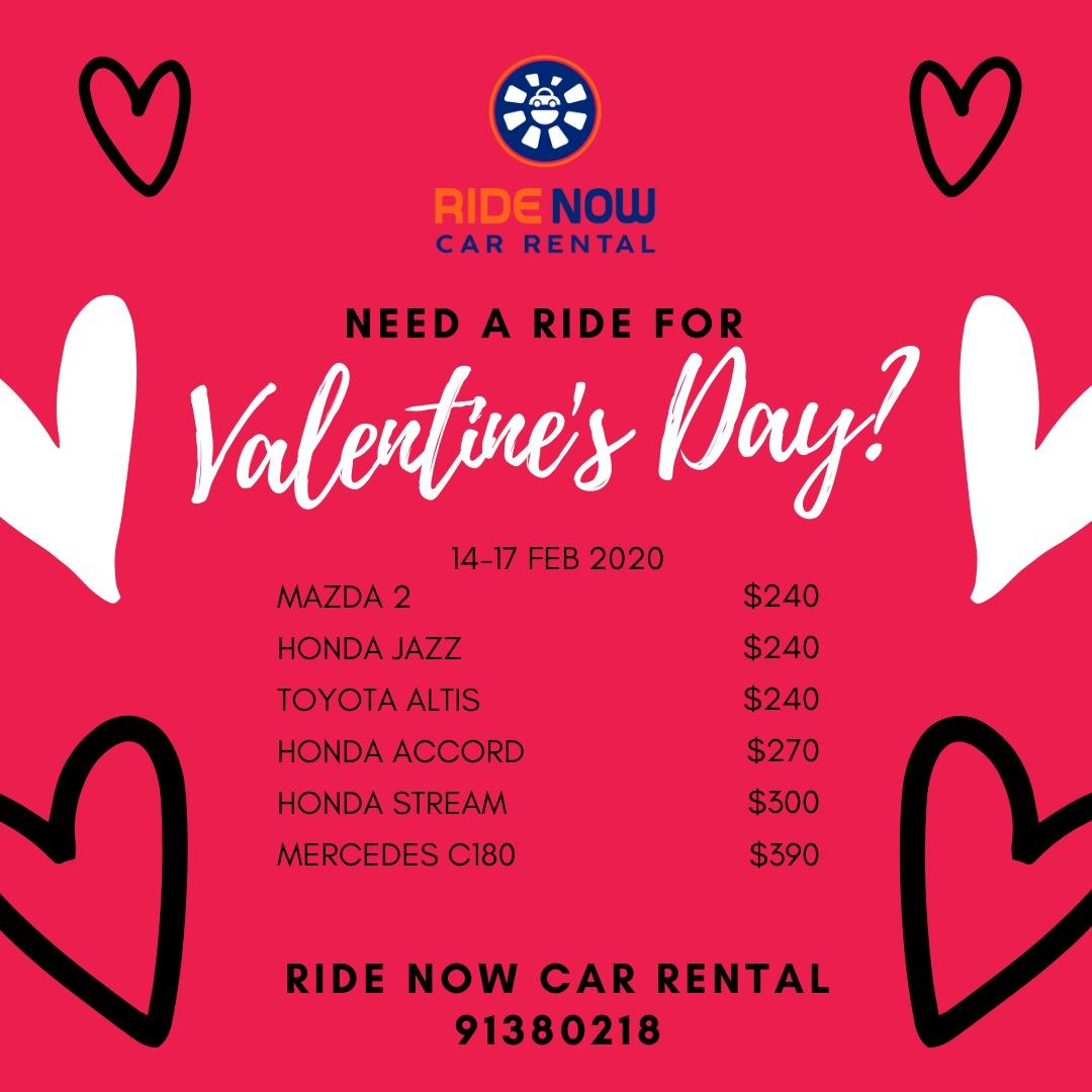 Valentines' Day Promotion! Bring your partner out for a nice date this weekend! Many choices of cars available!