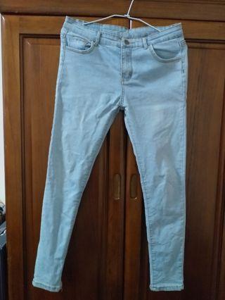 低腰 淺藍 牛仔褲