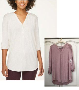 BNWT Loft Outlet Henley Tunic Top in Lavender