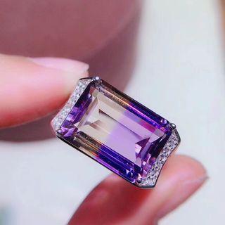天然 高級 紫黃晶 戒指 火光佳 糖果色 晶體通透 精工鑲嵌