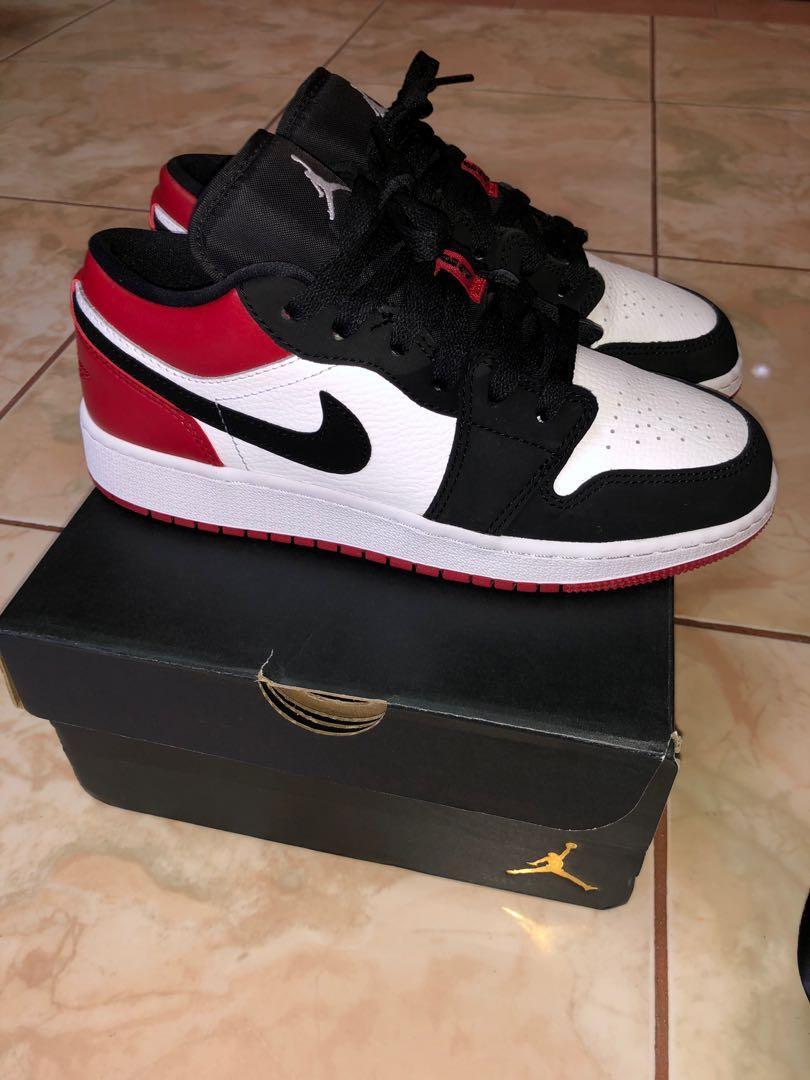 Air Jordan 1 Low Black Toe (GS), Men's