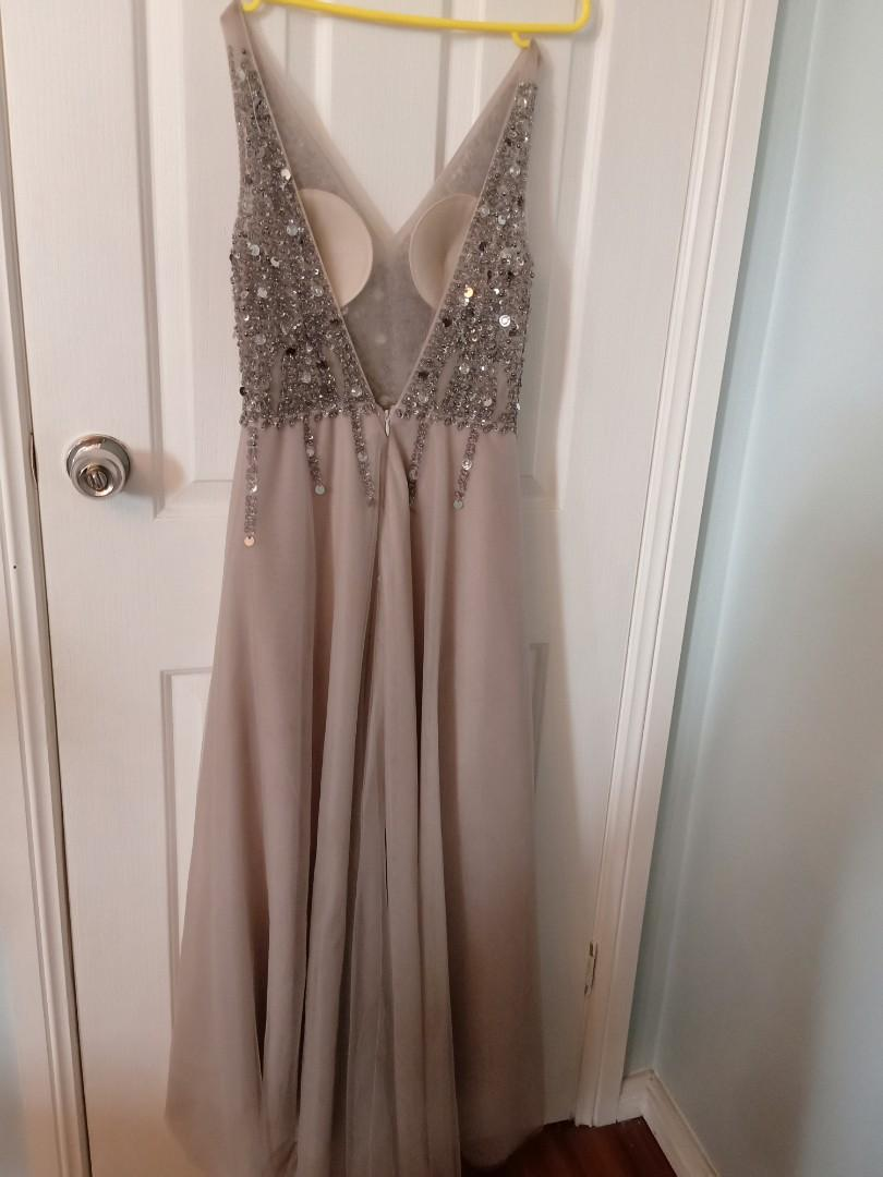 Beautiful sequined gown deep V neck grey blue with leg slit