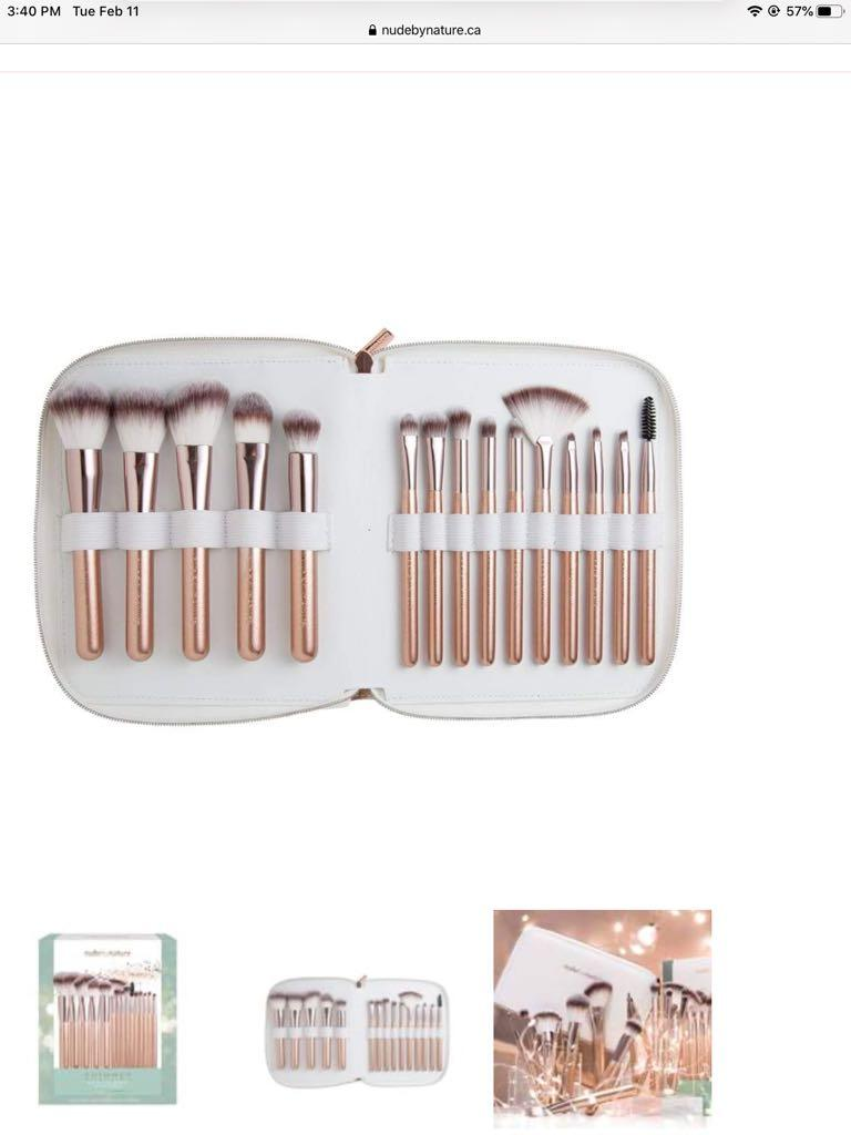 BNIB Nude by Nature 15 piece brush set with carry bag
