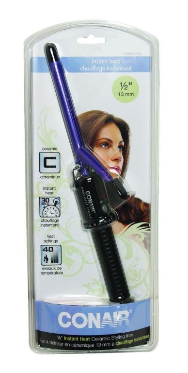 "Conair 1/2"" Instant Heat Ceramic Hair Styling Iron (Purple/Black)"