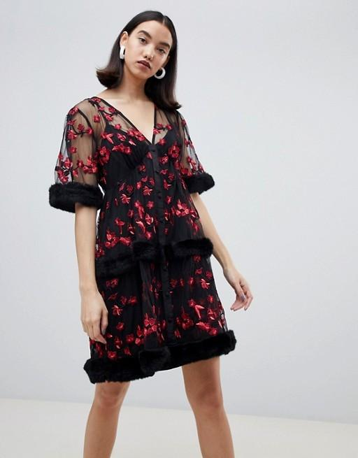 Lost Ink Embroidered mini smock dress with faux fur trim