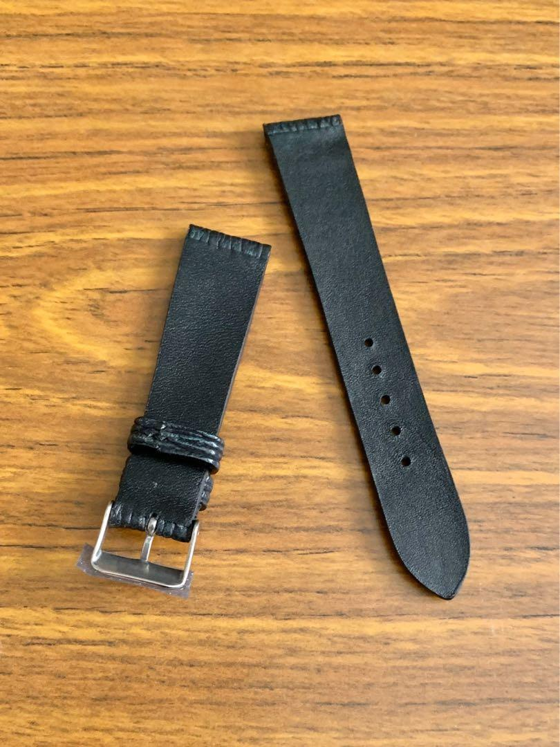 20mm/18mm Authentic Black with Forest Green Shark 🦈 Leather Watch Strap (two pieces already sold- this third and last piece 🙏🏻😊) Standard Length- L:120mm, S:75mm