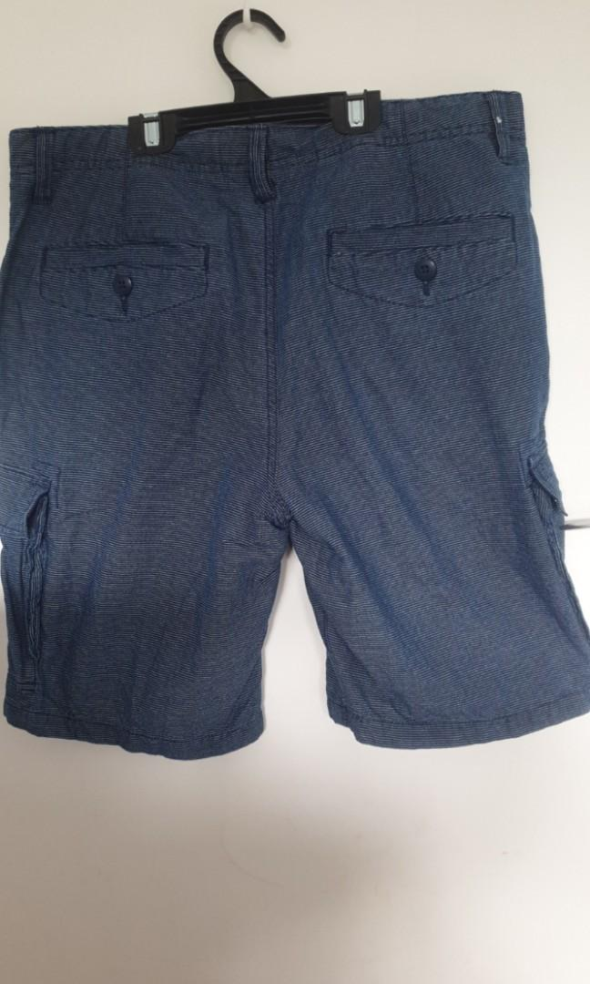 Mens Country Road blue striped  shorts 100% cotton size 34