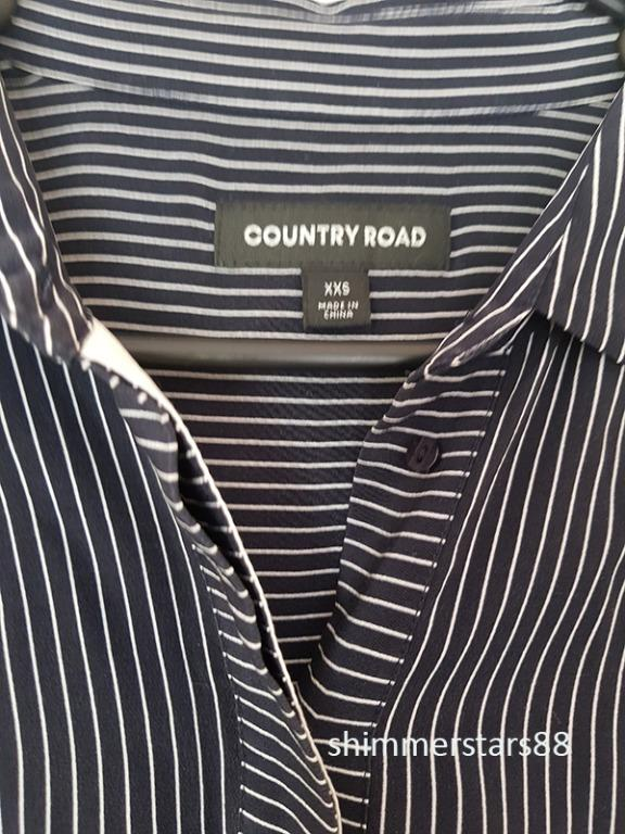French Navy Pinstripe Silk Shirt by Country Road, Size 6, RRP$169