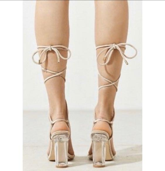 Super Sexy Urban Outfitters Velvet Nude Lace up sandals