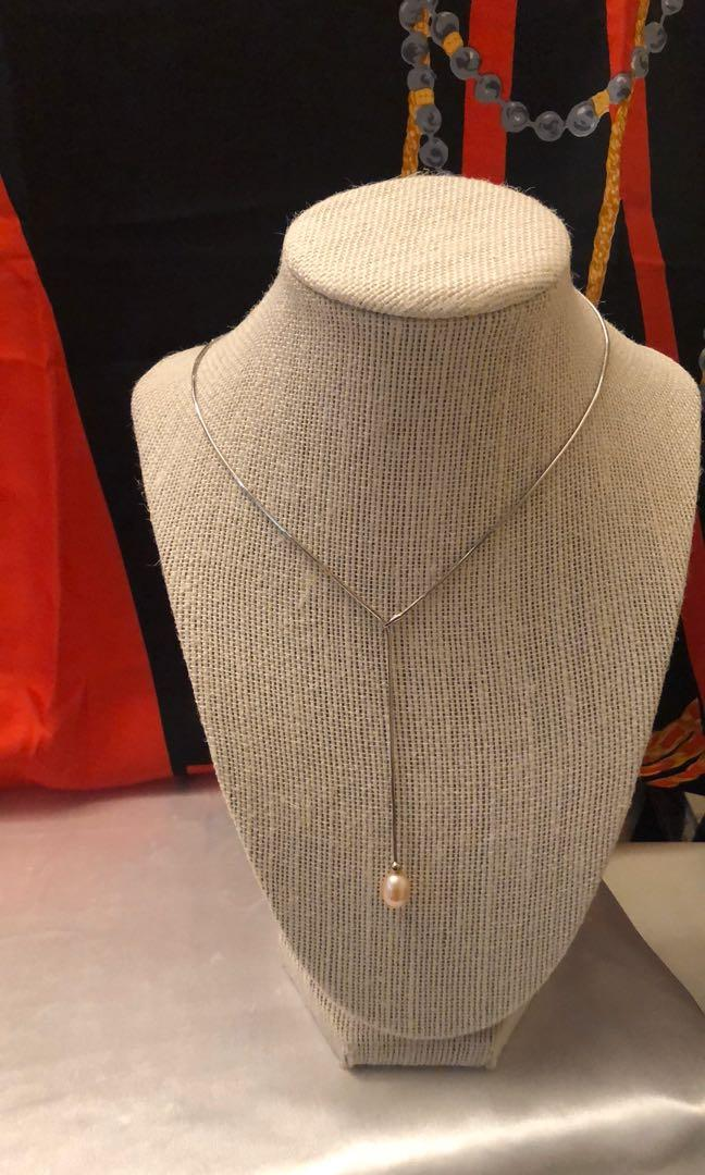 Vintage Sterling silver lariat necklace with genuine pearl