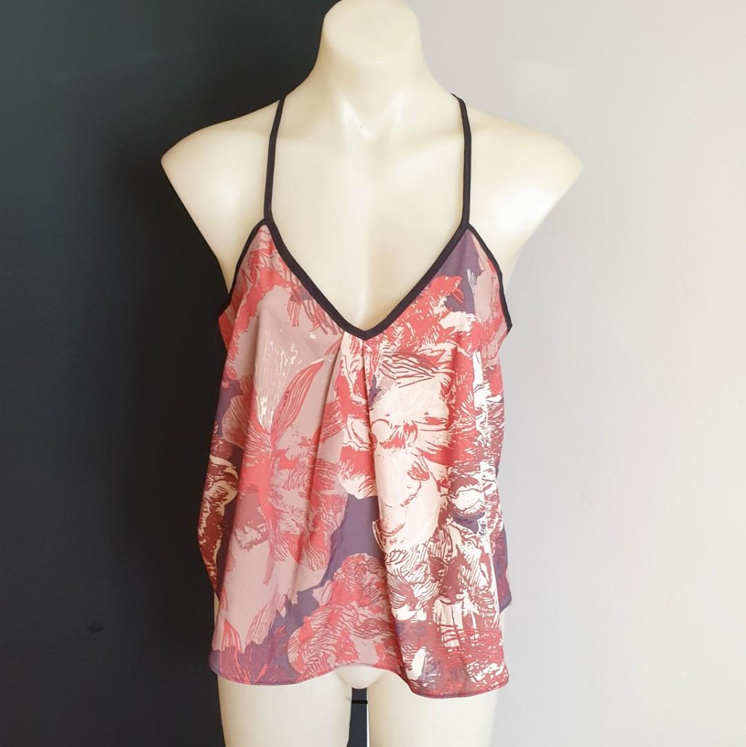 Women's size S 'COSTA BLANCA COLLECTION' Gorgeous multicoloured racerback top - AS NEW