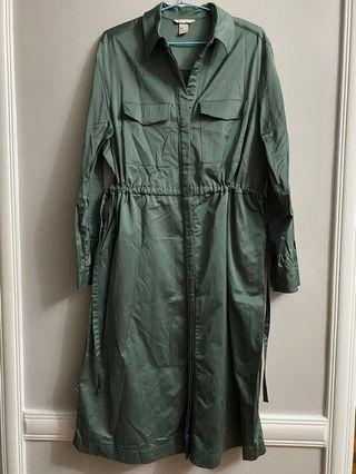 H&M Green Silk Dress Shirt