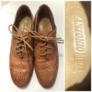 Antonio Muzi Mens Brogue (Wingtip) Leather Shoes_Euc_Fits Size 7.5