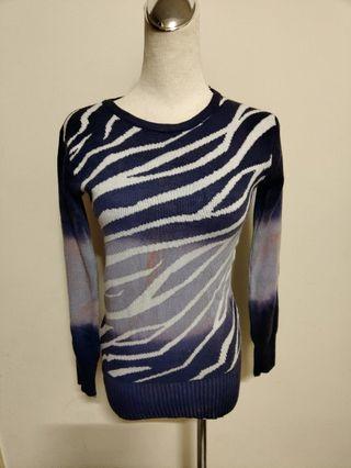女生 s 號 丈青色 長袖 針織 上衣 條紋 針織衫