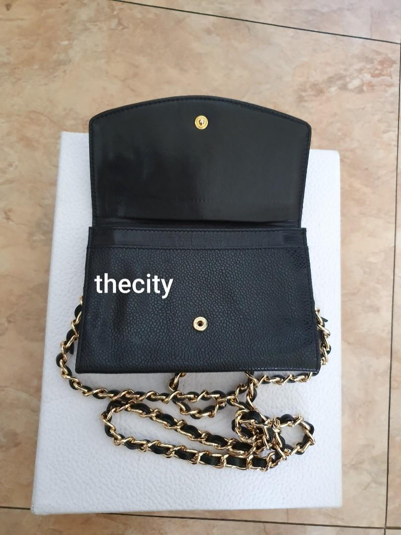 AUTHENTIC CHANEL ORGANIZER POUCH / WALLET - BLACK CAVIAR LEATHER- BIG CC LOGO DESIGN- GOLD HARDWARE- VERY CLEAN INTERIOR - HOLOGRAM STICKER INTACT - CLASSIC TIMELESS VINTAGE DESIGN- COMES WITH EXTRA ADD HOOKS & LONG CHAIN STRAP
