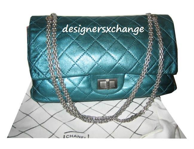 Chanel 2.55 Turquoise Metallic Soft Calf Leather Reissue 227 (Maxi) Matte Silver Hardware Double Flaps Bag