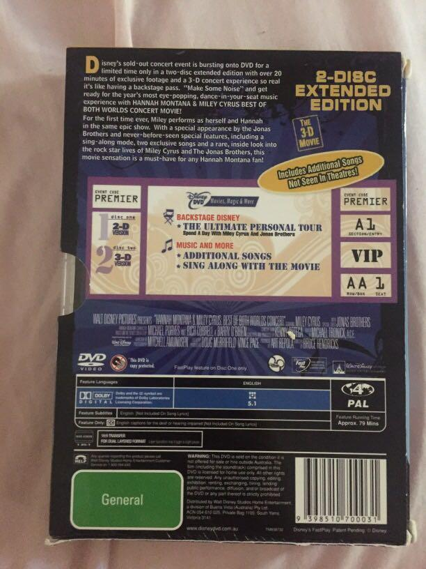 Hannah Montana Best of Both Worlds concert (2 discs - one in 3d!)
