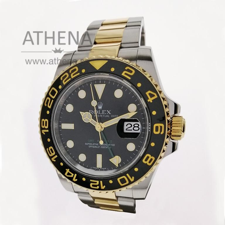 """LIKE NEW !!! ROLEX """"HALF GOLD"""" OYSTER PERPETUAL DATE GMT-MASTER II CERAMIC """"AN"""" SERIES WITH BOX, CERT & STILL UNDER AGENT WARRANTY 116713LN JGWRL_1145"""