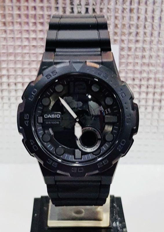 NEW🌟CASIO DIVER UNISEX SPORTS WATCH : 100% ORIGINAL AUTHENTIC : By BABY-G-SHOCK ( GSHOCK ) COMPANY : AEQ-100W-1B (STEALTH FULL BLACK)