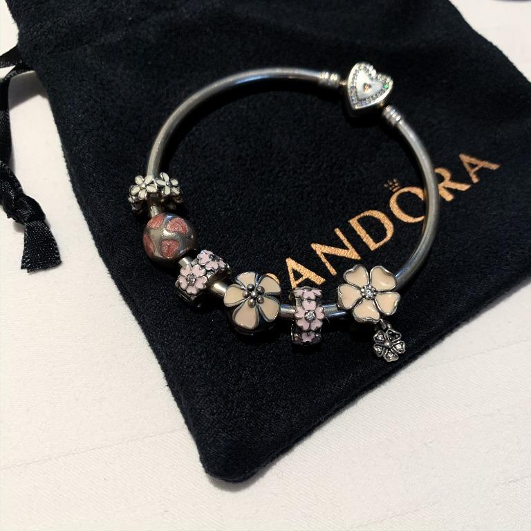 Pandora Love You Hearts Silver and Pink Enamel Charm