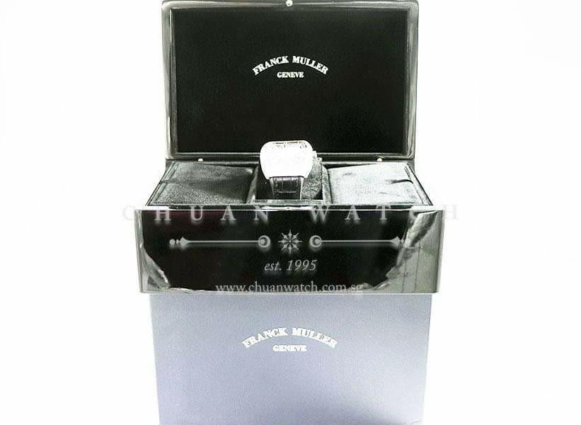 Pre-Owned Franck Muller Vanguard Steel Custom Pave-Set Diamonds V 45 SC DT AC NR Black Arabic