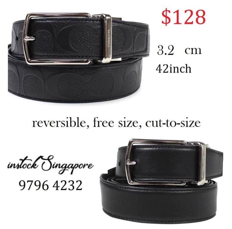 READY STOCK authentic new COACH COACH MODERN HARNESS CUT-TO-SIZE REVERSIBLE SIGNATURE LEATHER BELT F55158