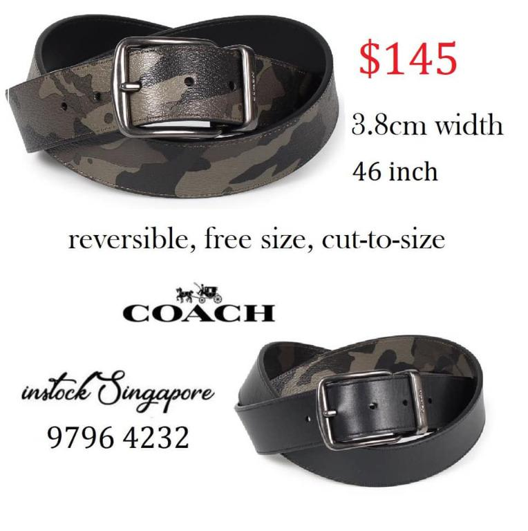 READY STOCK authentic new Coach CUT-TO-SIZE REVERSIBLE BELT WITH CAMO PRINT (COACH F76953) GREEN/BLACK ANTIQUE NICKEL