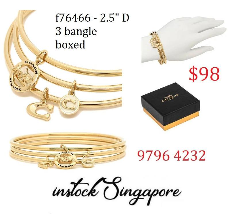 READY STOCK authentic new  COACH HORSE AND CARRIAGE BANGLE SET (COACH F76466) set of 3 Plated brass and enamel