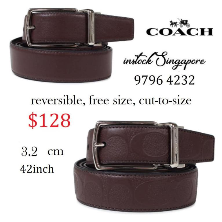 READY STOCK authentic new COACH MODERN HARNESS CUT-TO-SIZE REVERSIBLE SIGNATURE LEATHER BELT F55158
