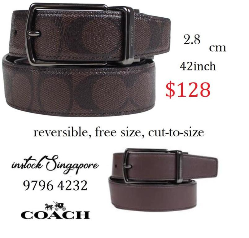 READY STOCK authentic new  COACH MODERN HARNESS CUT-TO-SIZE REVERSIBLE SIGNATURE LEATHER BELT f64825)