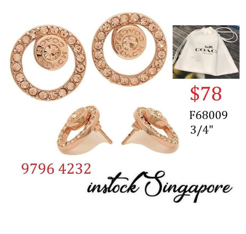 READY STOCK authentic new  COACH OPEN CIRCLE HALO STUD EARRINGS (COACH F68009) Gold-plated brass