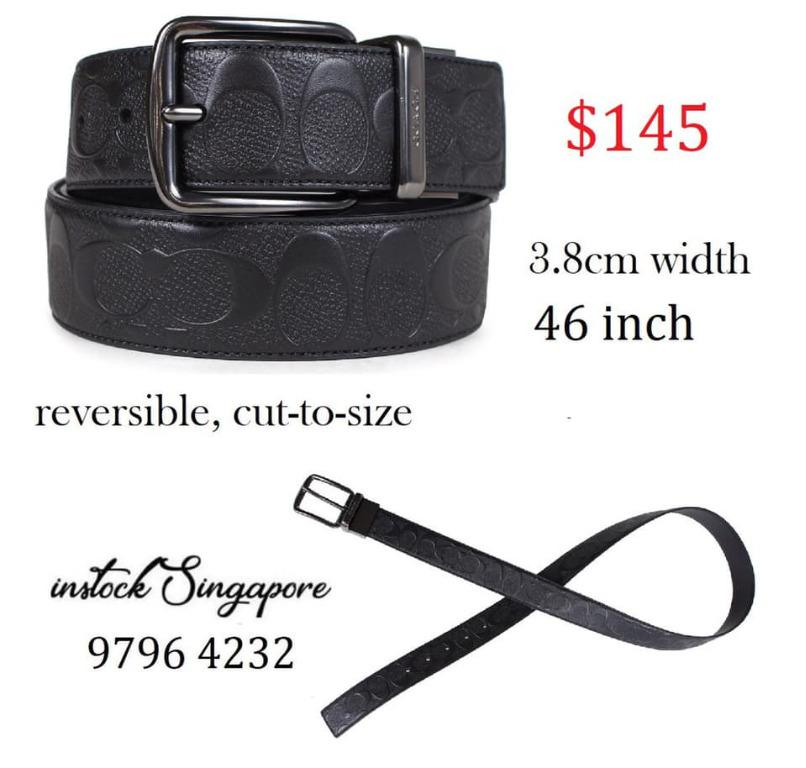 READY STOCK authentic new COACH WIDE HARNESS CUT-TO-SIZE REVERSIBLE SIGNATURE LEATHER BELT (COACH F55157)