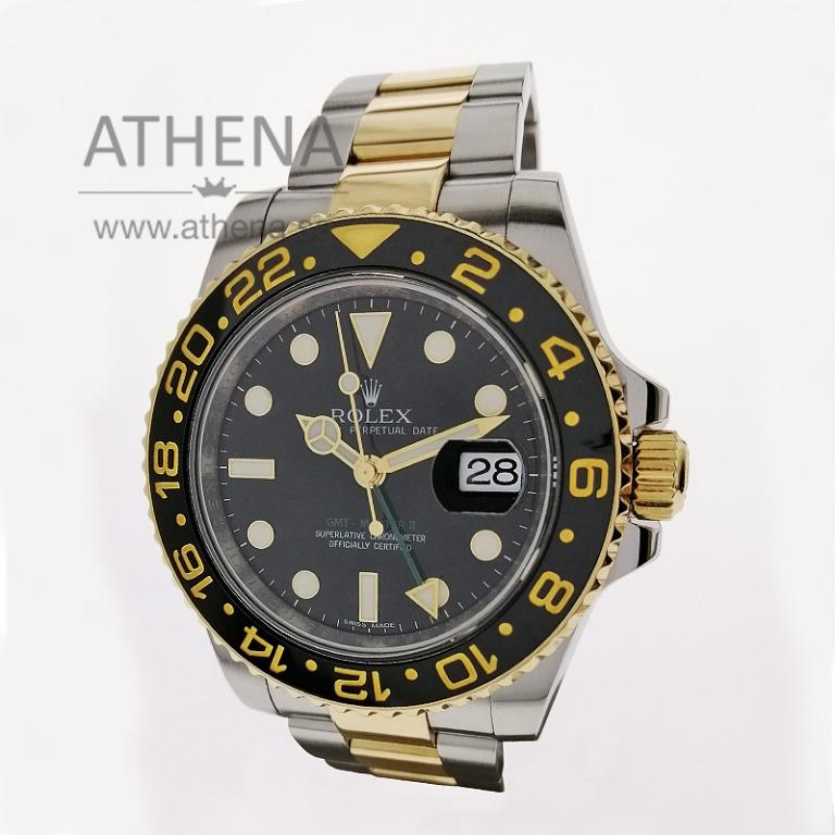 """ROLEX """"HALF GOLD"""" OYSTER PERPETUAL DATE GMT-MASTER II CERAMIC """"AN"""" SERIES WITH BOX, CERT & STILL UNDER AGENT WARRANTY 116713LN (LOCAL AD) JGWRL_935"""