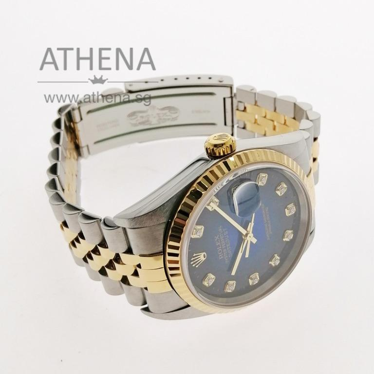 "ROLEX ""HALF-GOLD"" MENS OYSTER PERPETUAL DATEJUST ""K"" SERIES ""TWO TONE DIAMOND DIAL"" WITH CERT 16233 (LOCAL AD) JGWRL_1044"