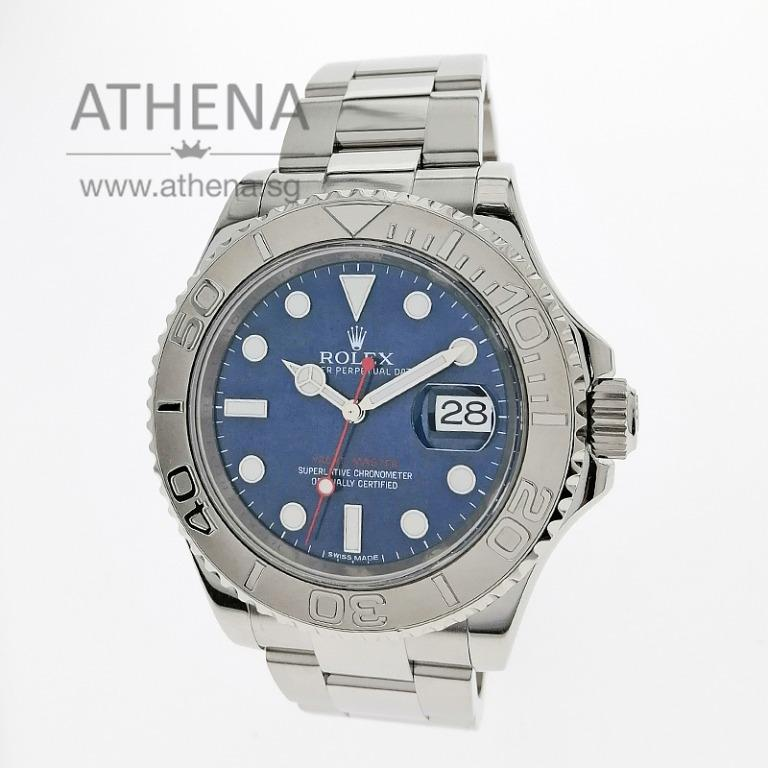 """ROLEX MENS OYSTER PERPETUAL DATE YACHT MASTER """"AN"""" SERIES """"BLUE DIAL"""" WITH BOX & CERT 116622 (STILL UNDER AGENT WARRANTY) JGWRL_1153"""