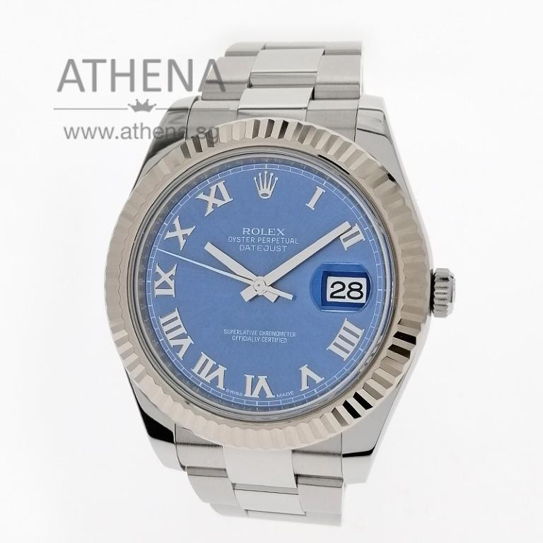 """ROLEX MENS OYSTER PERPETUAL DATEJUST II """"AN"""" SERIES """" BLUE ROMAN DIAL"""" WITH BOX, CERT & STILL UNDER AGENT WARRANTY 116334 (LOCAL AD ) 41MM JGWRL_1169"""