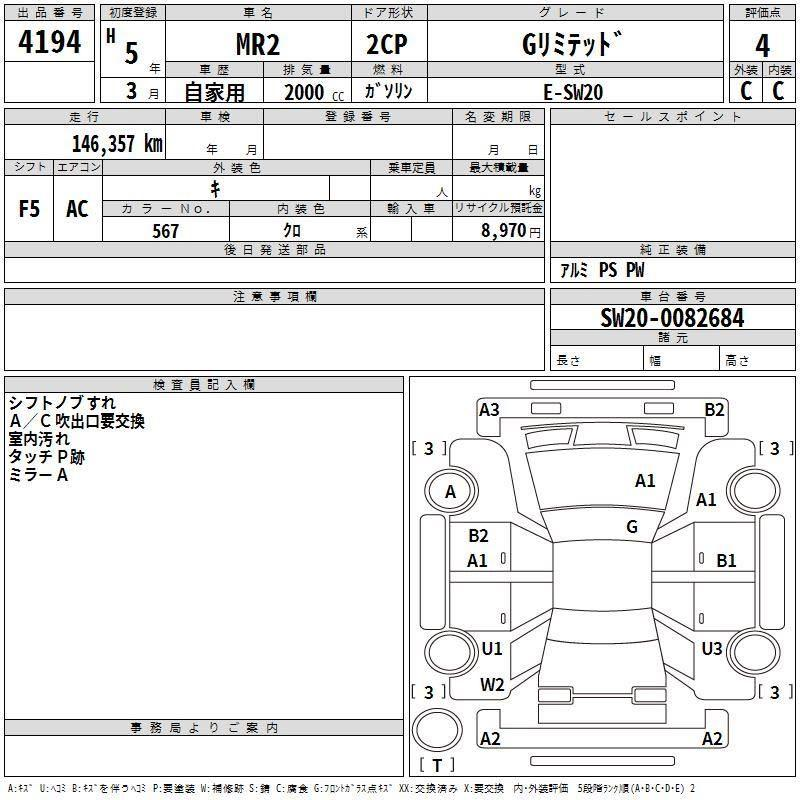 Toyota MR-S MR 2 Manual