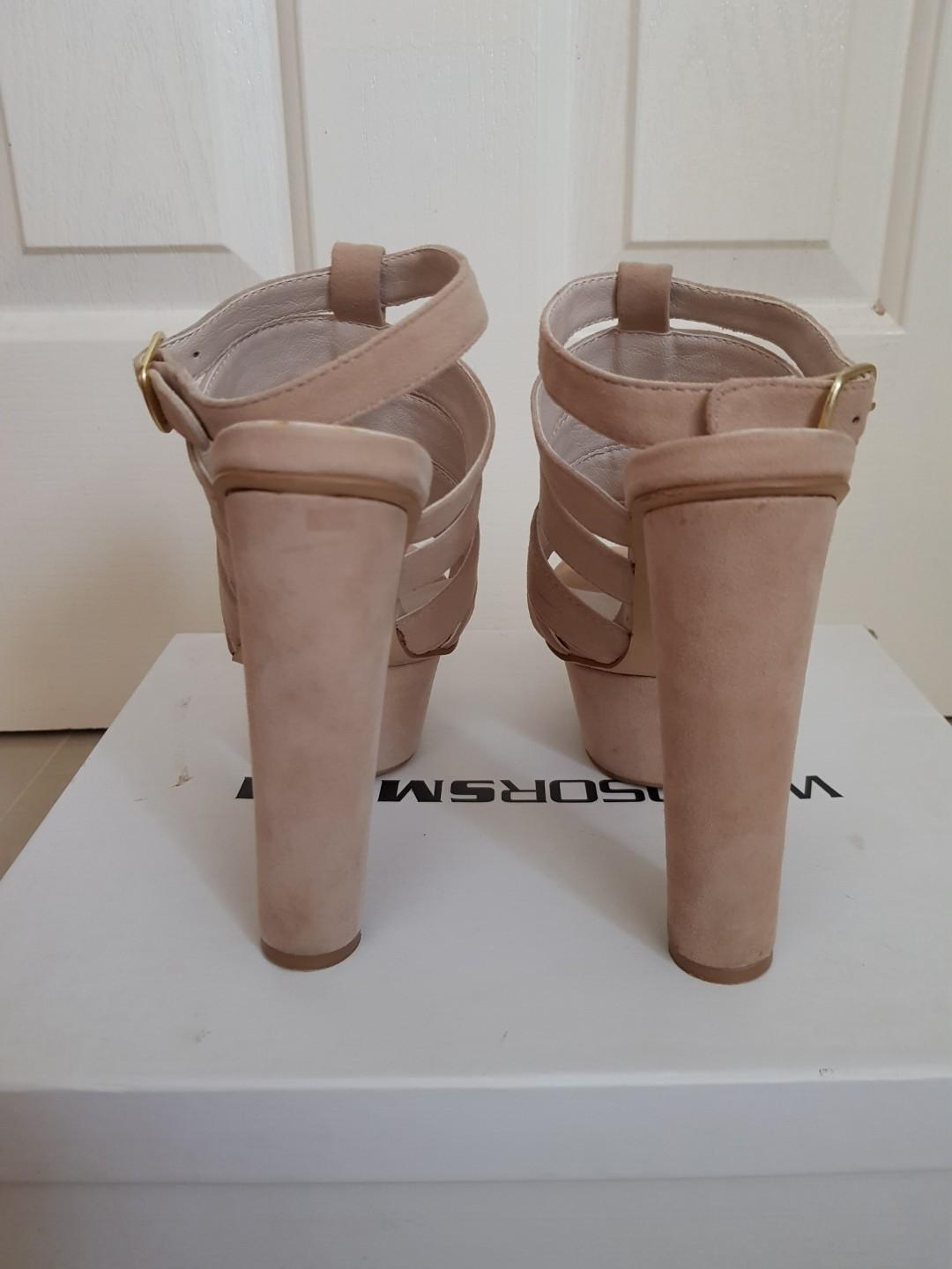 Windsor Smith suede heels with buckles in colour Stone
