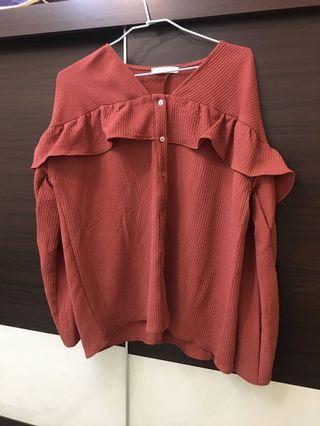 豆沙紅 襯衫造型上衣