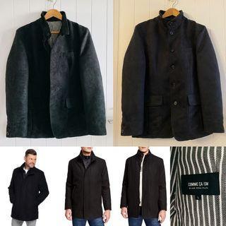 [近全新 已乾洗]日本品牌COMME CA ISM型男麂皮外套夾克有腰身適合175-180正韓帥黑高質感保證