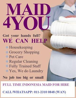 Full Time Indonesian Maid