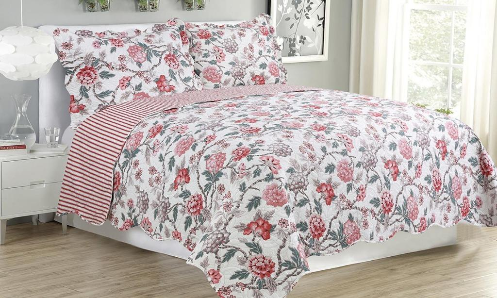 3 Piece Reversible Quilt with Pillow sham (Size Queen)