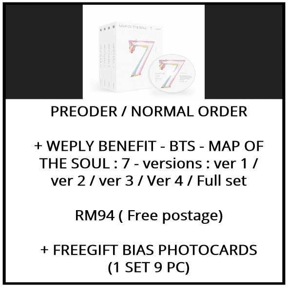 + WEPLY BENEFIT - BTS - MAP OF THE SOUL : 7 - versions : ver 1 / ver 2 / ver 3 / Ver 4 / Full set - PREORDER/NORMAL ORDER/GROUP ORDER/ALBUM GO + FREE GIFT BIAS PHOTOCARDS (1 ALBUM GET 1 SET PC, 1 SET GET 9 PC)