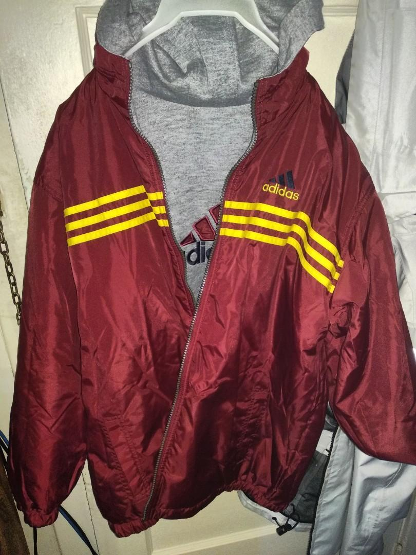 Adidas reversible jacket men's xl maroon red/yellow
