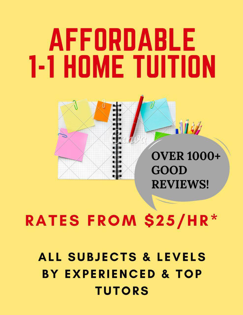 AFFORDABLE 1-1 Home Tuition by Experienced Tutors