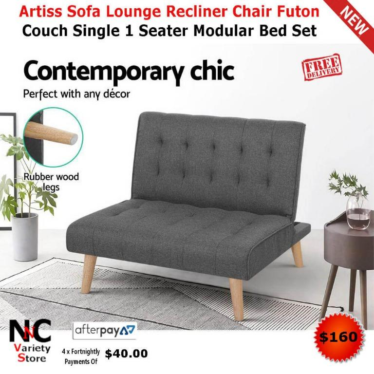 Artiss Sofa Lounge Recliner Chair Futon Couch Single 1 Seater Modular Bed Set