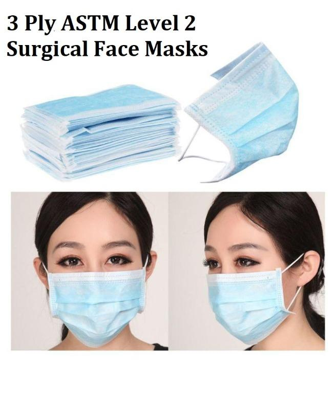 AUS/NZ CERTIFIED & APPROVED!! Surgical Face Mask 3 Ply ASTM Level 2