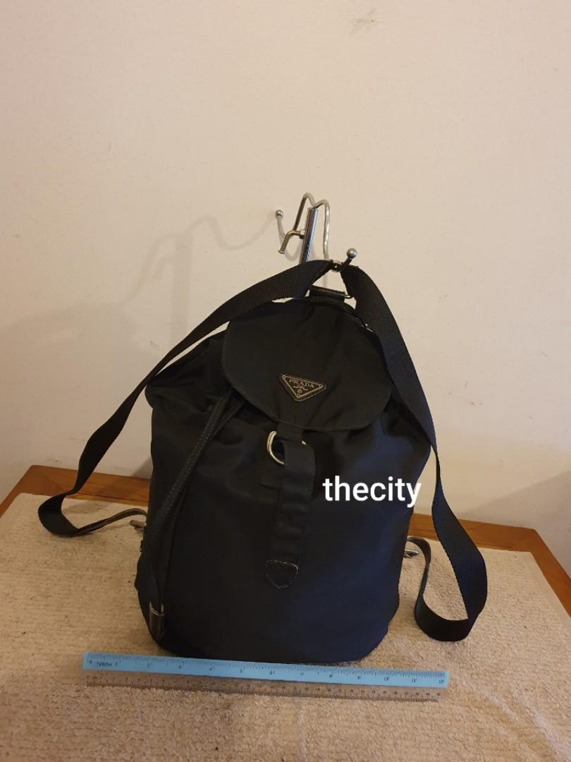 AUTHENTIC PRADA BLACK NYLON CANVAS BACKPACK- CLEAN INTERIOR - OVERALL OK ! - CLASSIC TIMELESS VINTAGE, SO NOT FOR FUSSY BUYERS - (PRADA BACKPACKS NOW RETAIL AROUND RM 6000+)