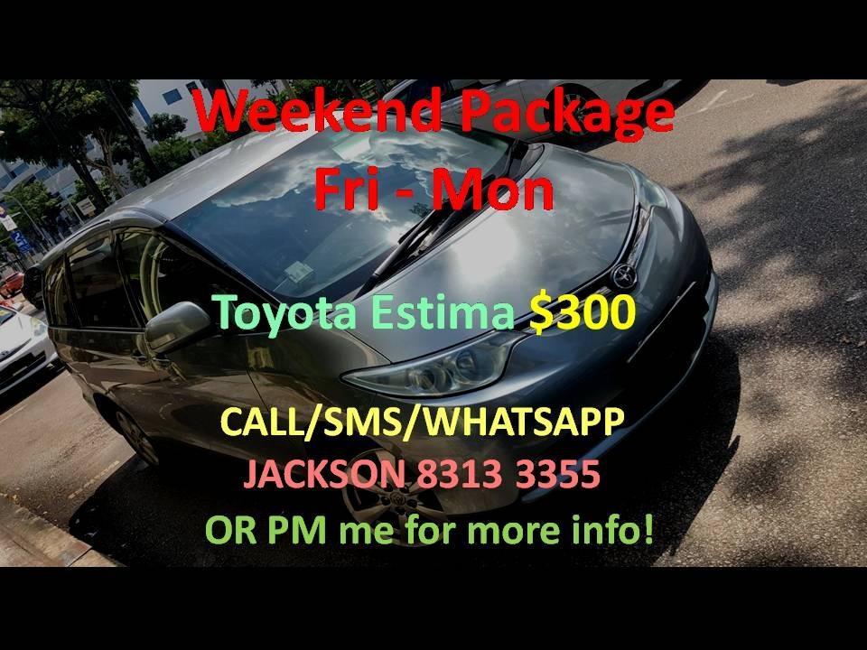 Car Rental Toyota Estima Fri-Mon Weekend Package 21-24 Feb ( Yishun )